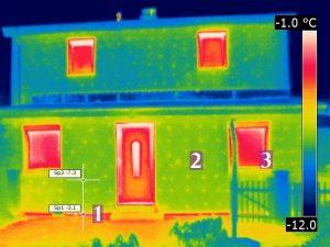 gut thermografierbar: zweischalige Außenwand mit Wärmedämmverbundsystem