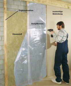 Mit Mineralwolle ausgeführte Innendämmung von Außenwänden