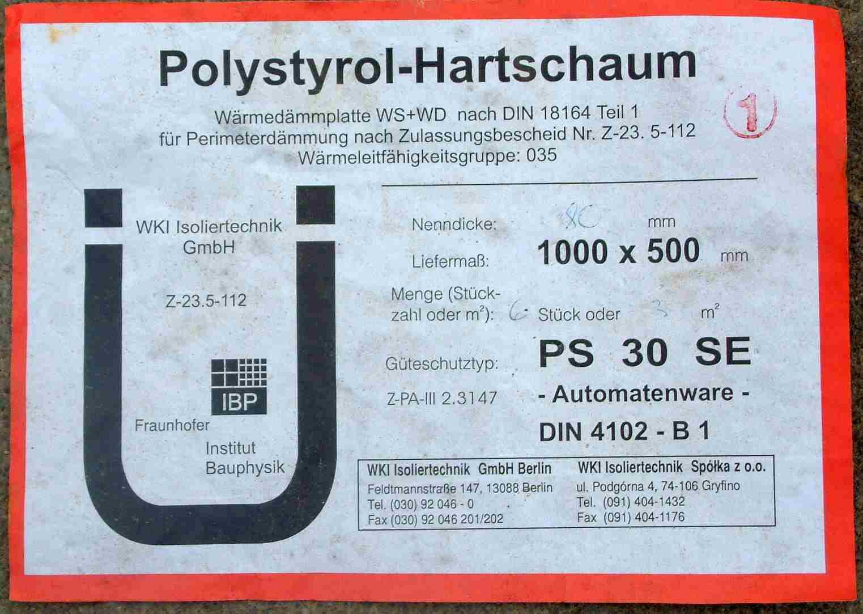 Produktetikett für Polystyrol-Hartschaum