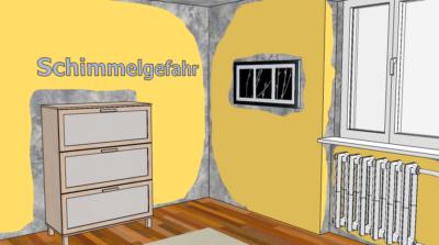 Gefährdete Bereiche im schwach gedämmten Wohnraum