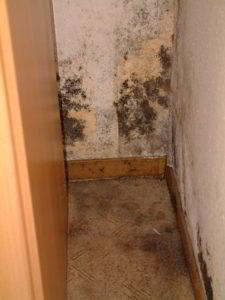 Schimmel im Wohnraum: Hier Außenwandecke über dem Keller (Schlafraum)