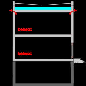 wärmegedämmte oberste Geschossdecke (belüftetes Flachdach, Betonkonstruktion)