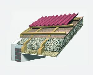 Vollsparrendämmung (unbelüftet) mit Zellulose und Holzfaserdämmplatte