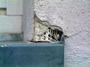 Metallische Fensterbank ohne Gleitstück