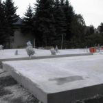 Fertig betonierte Bodenplatten